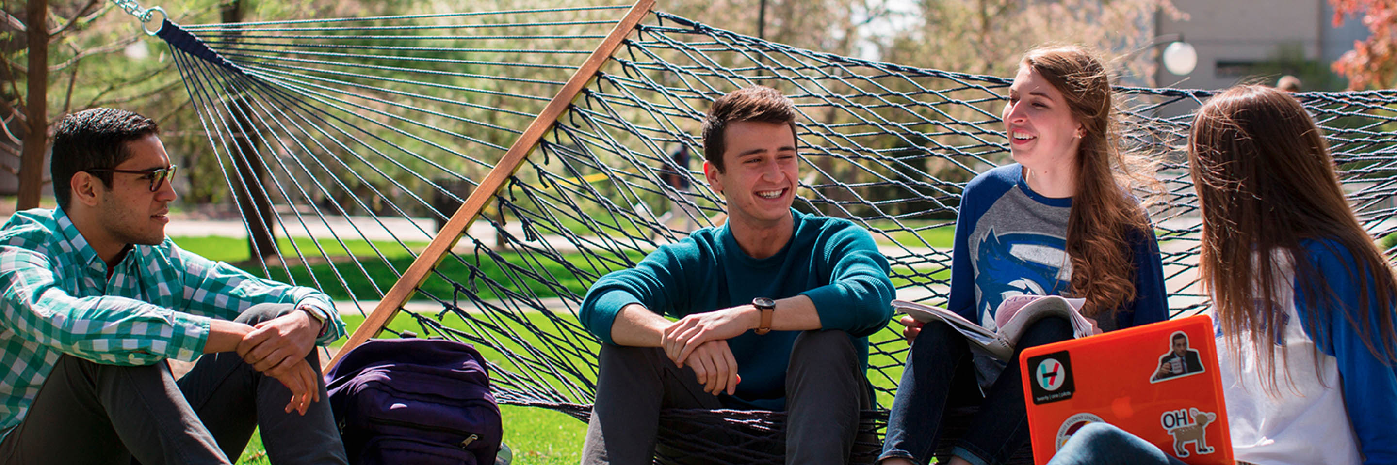 students with hammock