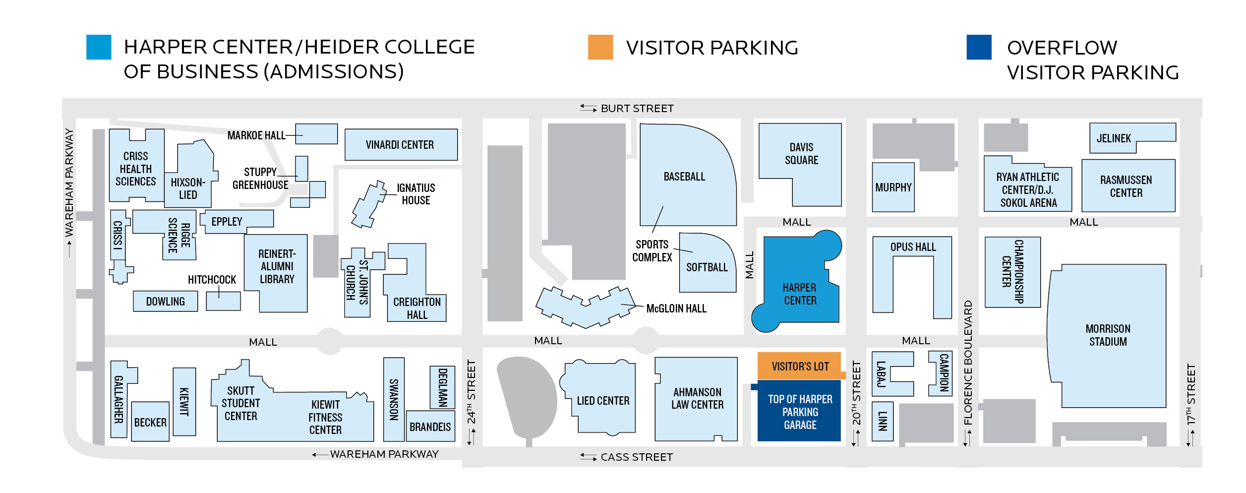 Parking Map for Creighton Admissions Visitors