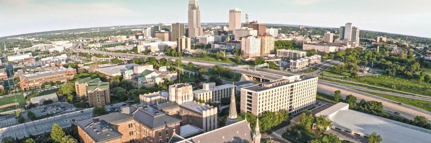 Aerial View of Campus and Downtown Omaha