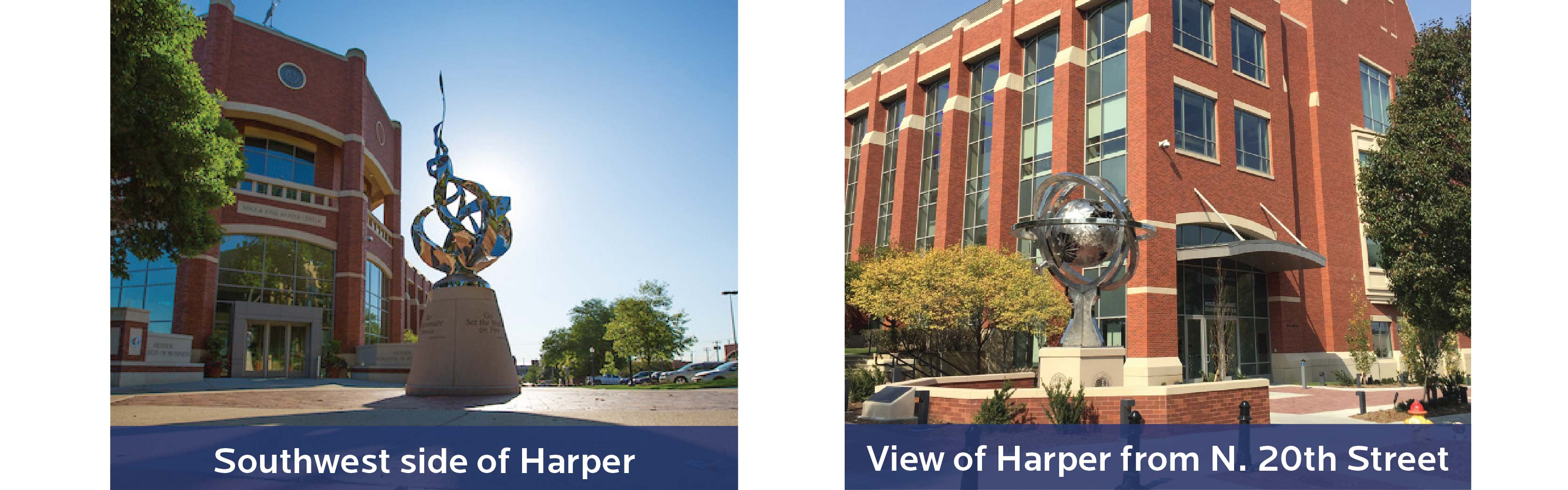 Views of Harper Center/Entrance to Admissions