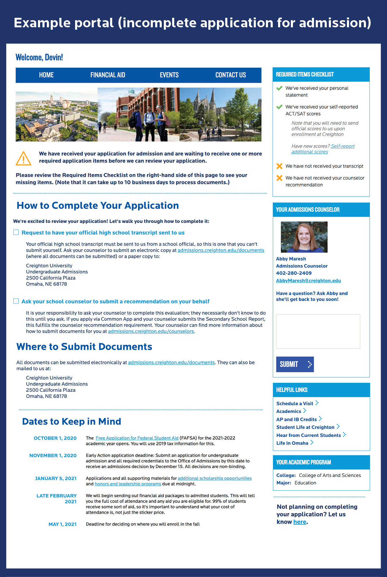 Student portal view for a student with an incomplete application for admission