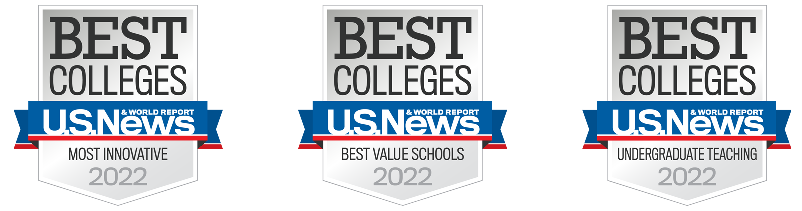 Badges showing Creighton is a best U.S. college for service, innovation, undergrad teaching and value