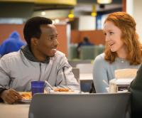 Two students in Brandeis Dining Hall