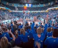 Student section at Creighton men's basketball game